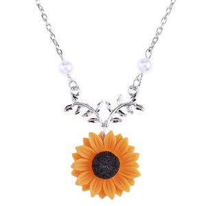 ,Delicate Sunflower Pendant Necklace For Women Creative Imitation Pearls Jewelry Necklace Clothes Accessories,guiro,Guiro.