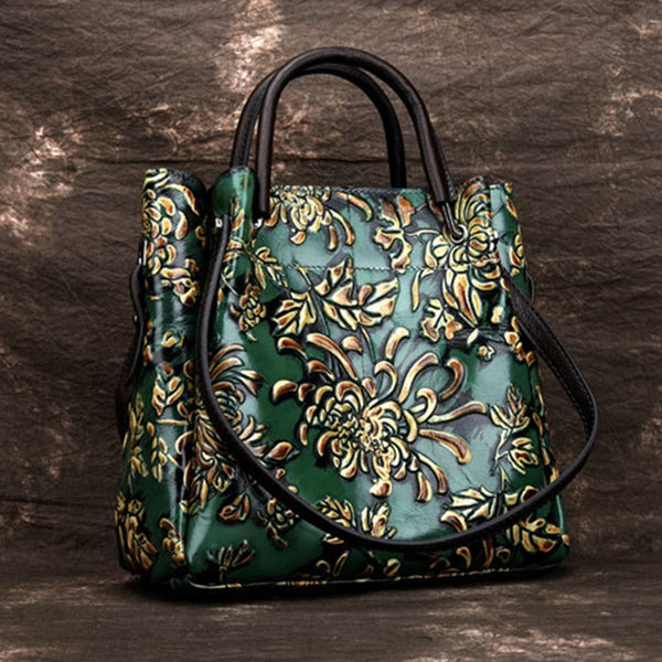 - Natural Skin Embossed Messenger Shoulder Female Handbag Tote Bags Floral High Quality Genuine Leather Women Top Handle Bag - guiro - Guiro