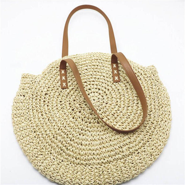 - Handmade Woven Round Women Shoulder Bag Bohemian Summer Straw Beach Handbag for Travel Shopping Female Tote Rattan Wicker Bags - guiro - Zeinab Fashion