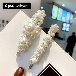 - Korean Simulated Pearl Barrettes Beaded Geometric Women Hair Clip Hairgrips Hair Accessories Girls Jewelry Fashion Hair Pins - guiro - Guiro
