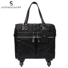 Load image into Gallery viewer, ,SC Carry-Ons Travel Bag Unisex Spinner Wheels Microfiber Vegan Leather Luggage Overnight Suitcase Holiday Pockets Carry Bag,guiro,Zeinab Fashion.