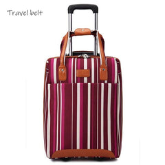 - Travel Belt Oxford Rolling Luggage Set Spinner Women Brand Suitcase Wheels Stripe Carry-On Travel Bags - guiro - Zeinab Fashion