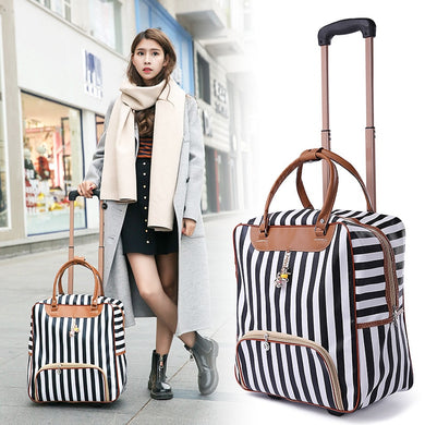 ,New Hot Fashion Women Trolley Luggage Rolling Suitcase Brand Casual Stripes Rolling Case Travel Bag on Wheels Luggage Suitcase,guiro,Zeinab Fashion.