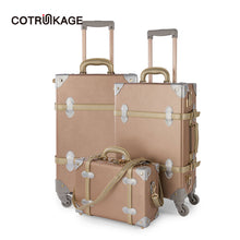 "Load image into Gallery viewer,  - COTRUNKAGE 3 Pieces Rose Gold Retro Pu Leather Suitcase Set 13"" 20"" 26"" Women Trunk Vintage Luggages Girls Rolling Luggage Sets - guiro - Zeinab Fashion"