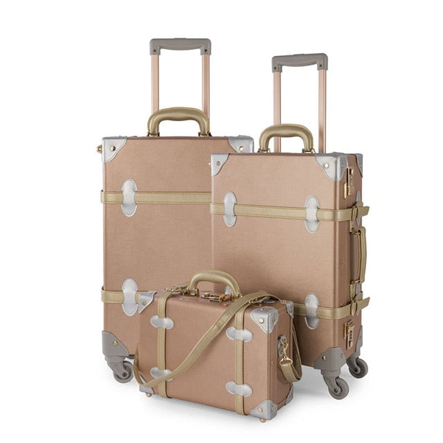 "- COTRUNKAGE 3 Pieces Rose Gold Retro Pu Leather Suitcase Set 13"" 20"" 26"" Women Trunk Vintage Luggages Girls Rolling Luggage Sets - guiro - Zeinab Fashion"