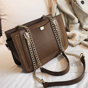 ,Luxury Rivet Handbag Women's Bag Designer Brand Metal Chain Tote Bag Casual PU Leather Crossbody Bag,guiro,Guiro.