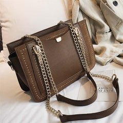 - Luxury Rivet Handbag Women's Bag Designer Brand Metal Chain Tote Bag Casual PU Leather Crossbody Bag - guiro - Guiro