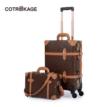 Load image into Gallery viewer,  - COTRUNKAGE Mens TSA Lock Vintage Carry On Suitcase Brown Pu Leather Rolling Trunk Womens Luggage Set 2 Piece with Cosmetic Case - guiro - Zeinab Fashion
