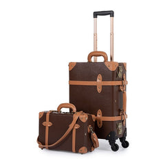 - COTRUNKAGE Mens TSA Lock Vintage Carry On Suitcase Brown Pu Leather Rolling Trunk Womens Luggage Set 2 Piece with Cosmetic Case - guiro - Zeinab Fashion