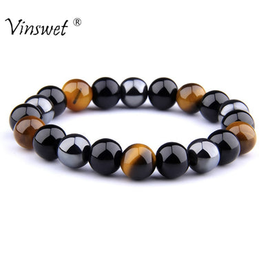 ,Natural Black Obsidian Hematite Tiger Eye Beads Bracelets Men for Magnetic Health Protection Women Jewelry Pulsera Hombre,guiro,Guiro.