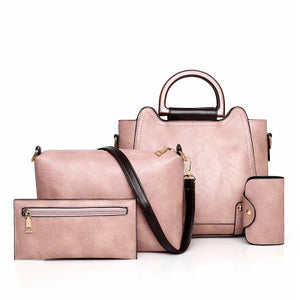 Handbags,Set 4 Pcs PU Leather Women Bags Vintage Female Handbags Casual Lady Shoulder Bag Clutch Bags For Women Card Holder,guiro,Zeinab Fashion.