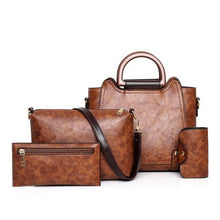 Load image into Gallery viewer, Handbags,Set 4 Pcs PU Leather Women Bags Vintage Female Handbags Casual Lady Shoulder Bag Clutch Bags For Women Card Holder,guiro,Zeinab Fashion.