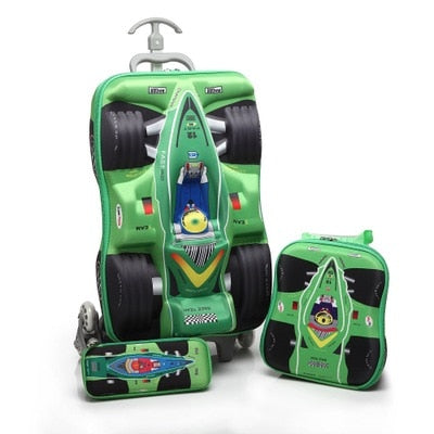 - Kids Cars Travel Luggage 3D Stereo Climb Stairs Pull Rod Box Cartoon Child Pencil Box Children COOL Suitcase Gift Boarding Box - guiro - Zeinab Fashion