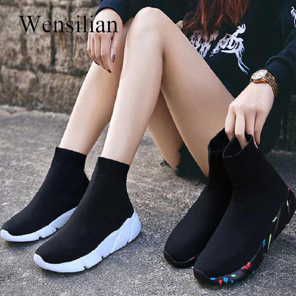 - Sneakers Sneakers For Women Vulcanized Shoes Socks Shoes Trainers Women Slip-on Stretch Platform Dad Shoes Black Sneaker 2019 - guiro - Zeinab Fashion