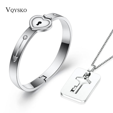 ,Fashion A Couple Jewelry Sets For Lovers Stainless Steel Love Heart Lock Bracelets Bangles Key Pendant Necklace Couples Set,guiro,Guiro.