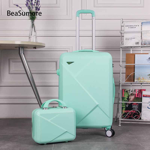 - BeaSumore Women Korean Rolling Luggage Sets Spinner Handle Suitcase Wheels Cute High capacity Trolley 20 inch Men Cabin Trunk - guiro - Zeinab Fashion