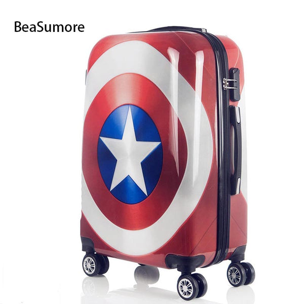 - BeaSumore Cute Cartoon Children Rolling Luggage Spinner Super hero Suitcase Wheels Students Password Travel Bag Cabin Trolley - guiro - Zeinab Fashion