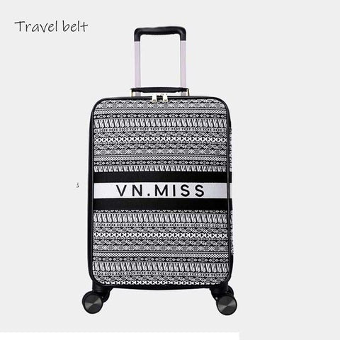 - Travel Belt classic Brand Rolling Luggage and handbagSpinner women Retro Canvas Travel Bags fashion Suitcase Wheels - guiro - Zeinab Fashion