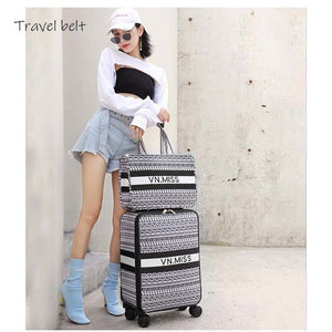 ,Travel Belt classic Brand Rolling Luggage and handbagSpinner women Retro Canvas Travel Bags fashion Suitcase Wheels,guiro,Zeinab Fashion.