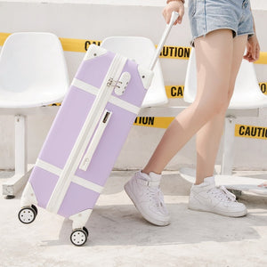 "- Luggage 20"" 22"" 24"" 26"" inch women hard retro rolling luggage set trolley baggage with cosmetic bag vintage suitcase for girls - guiro - Zeinab Fashion"