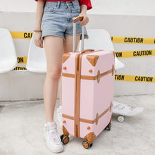 "Load image into Gallery viewer,  - Luggage 20"" 22"" 24"" 26"" inch women hard retro rolling luggage set trolley baggage with cosmetic bag vintage suitcase for girls - guiro - Zeinab Fashion"