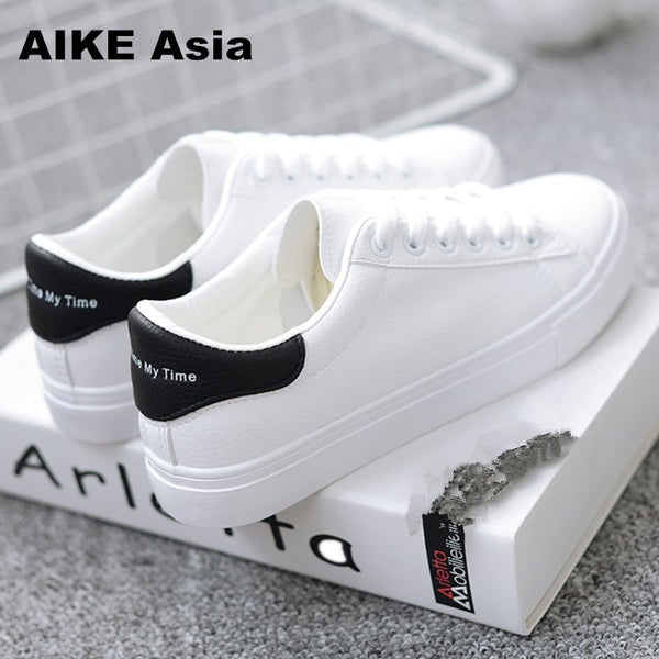 - HOT Women Sneakers 2019 Fashion Breathble Vulcanized Shoes Women Pu leather Platform Shoes Women Lace up Casual Shoes White - guiro - Zeinab Fashion