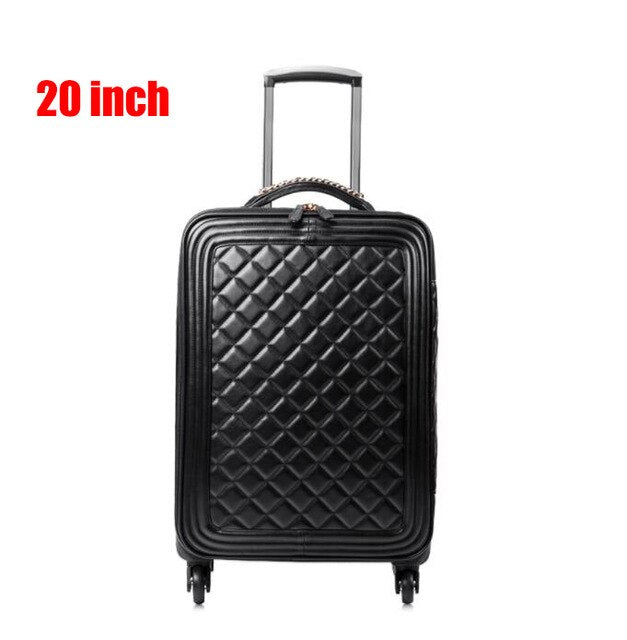 "- New fashion 16"" 20"" 24"" inch women spinner leather retro trolley bag 24 travel suitcase PU leather hand luggage set - guiro - Zeinab Fashion"
