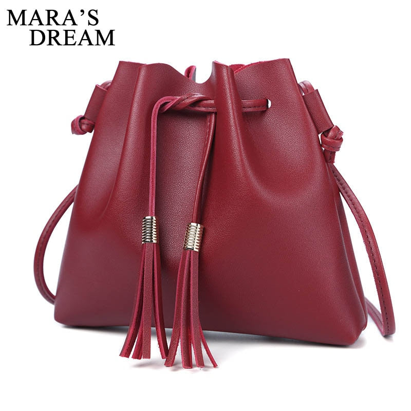 - New Fashion Bucket Bag Women PU Leather Tote Solid Color Handbags For Female Tassel Design Shoulder Crossbody Bags - guiro - Guiro
