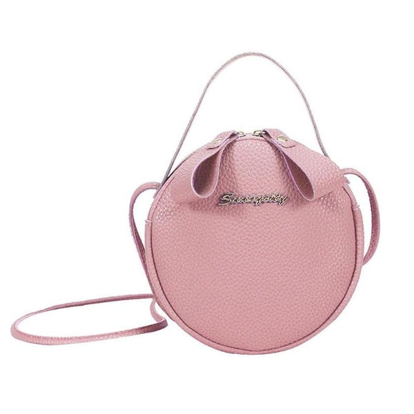 - Women Litchi Pattern Round Shoulder Messenger Handbags New Female PU Leather Crossbody Casual Small Satchel Bags Bolso femenino - guiro - Guiro