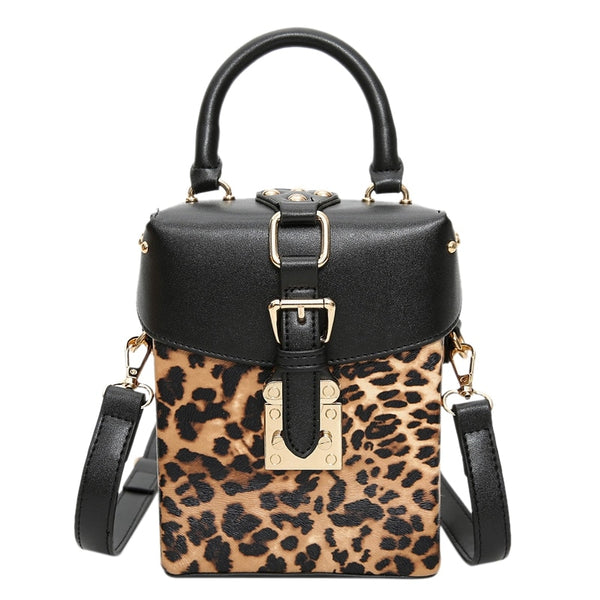 - Personalized Box Handbags Mini Cube Design Crossbody Bags For Women Messenger Bags Leopard - guiro - Zeinab Fashion