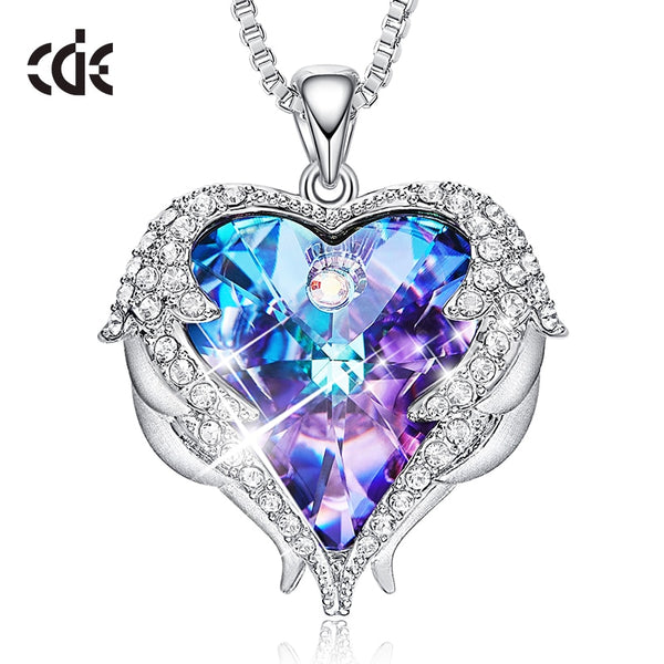 - CDE Women Necklace Pendant Embellished with crystals from Swarovski Heart Necklace Valentines Gift Angel Wings Female Jewelry - guiro - Guiro