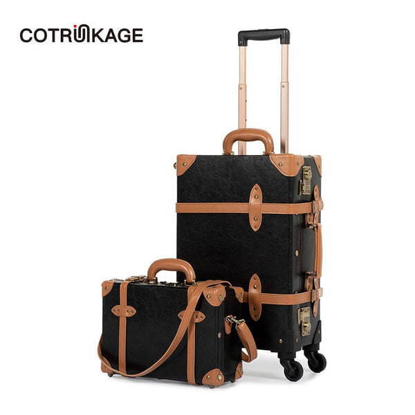 "- COTRUNKAGE Carry On Suitcase TSA Lock Vintage Suitcase Black Pu Leather Rolling Trunk 2 Piece Luggage Set with 13"" Cosmetic Case - guiro - Zeinab Fashion"