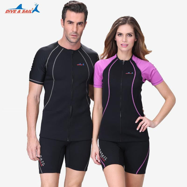 - 1.5mm Neoprene Wetsuit Zip-up Shirt Short Sleeve Leggings Shorts Wetsuits Set - guiro - Zeinab Fashion