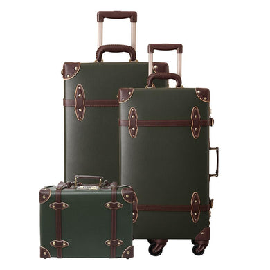 - Vintage Suitcase Carry On Luggage set Hardside Rolling Spinner Retro Style for Travel Trunk - guiro - Zeinab Fashion