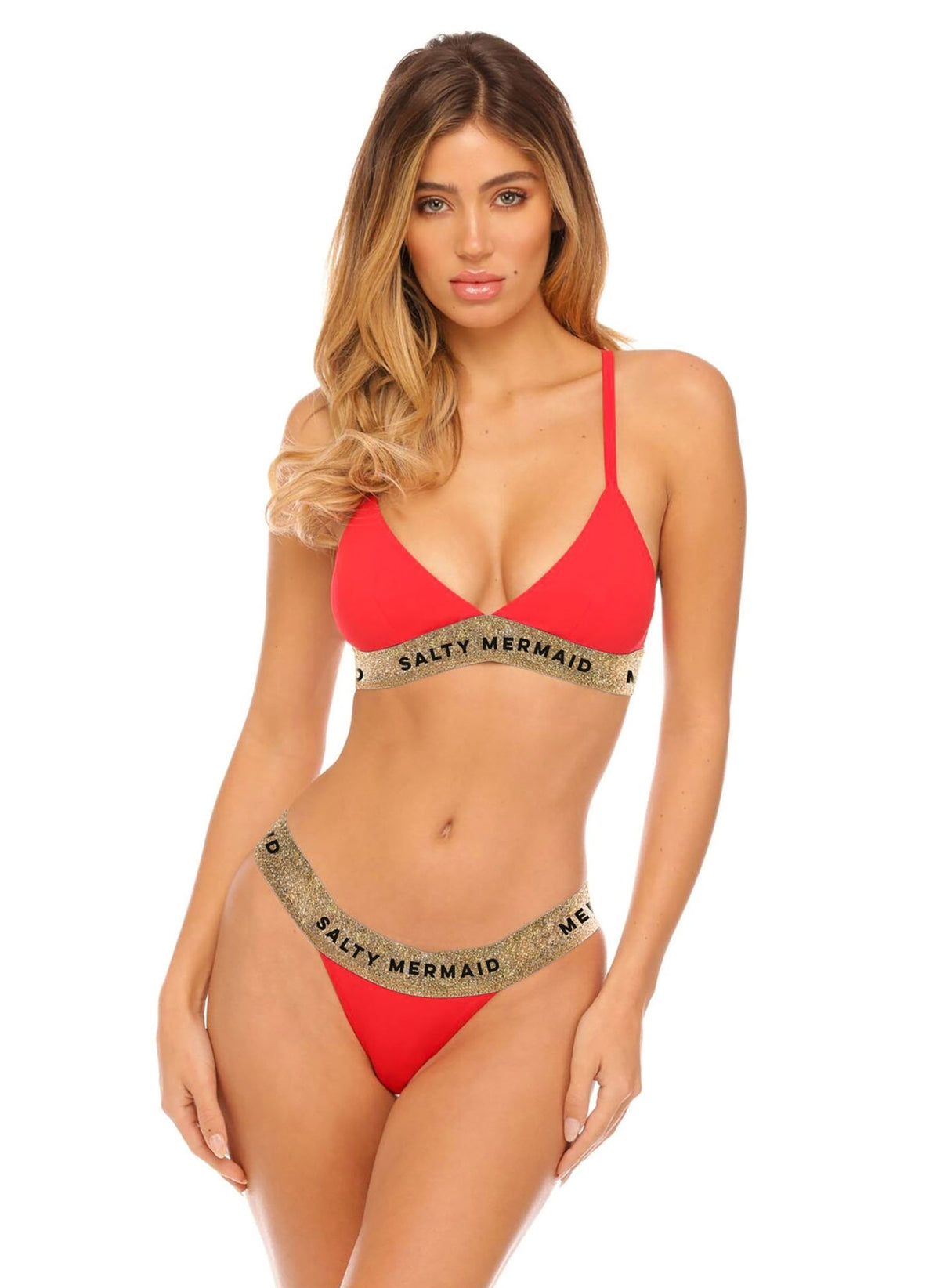 Banded Bottom - Red - Salty Mermaid Swim