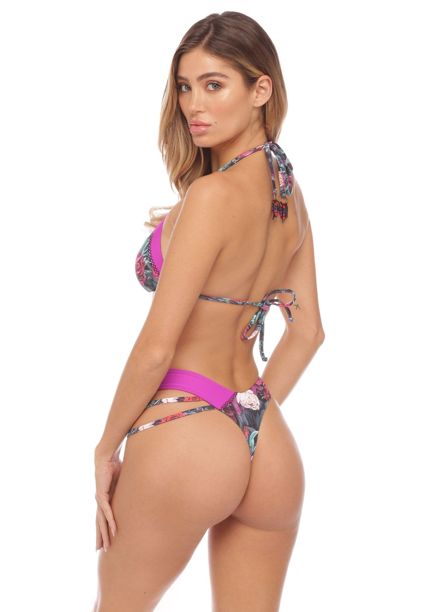 Gemma Triangle - Contrast Trim - Fuschia - Salty Mermaid Swim