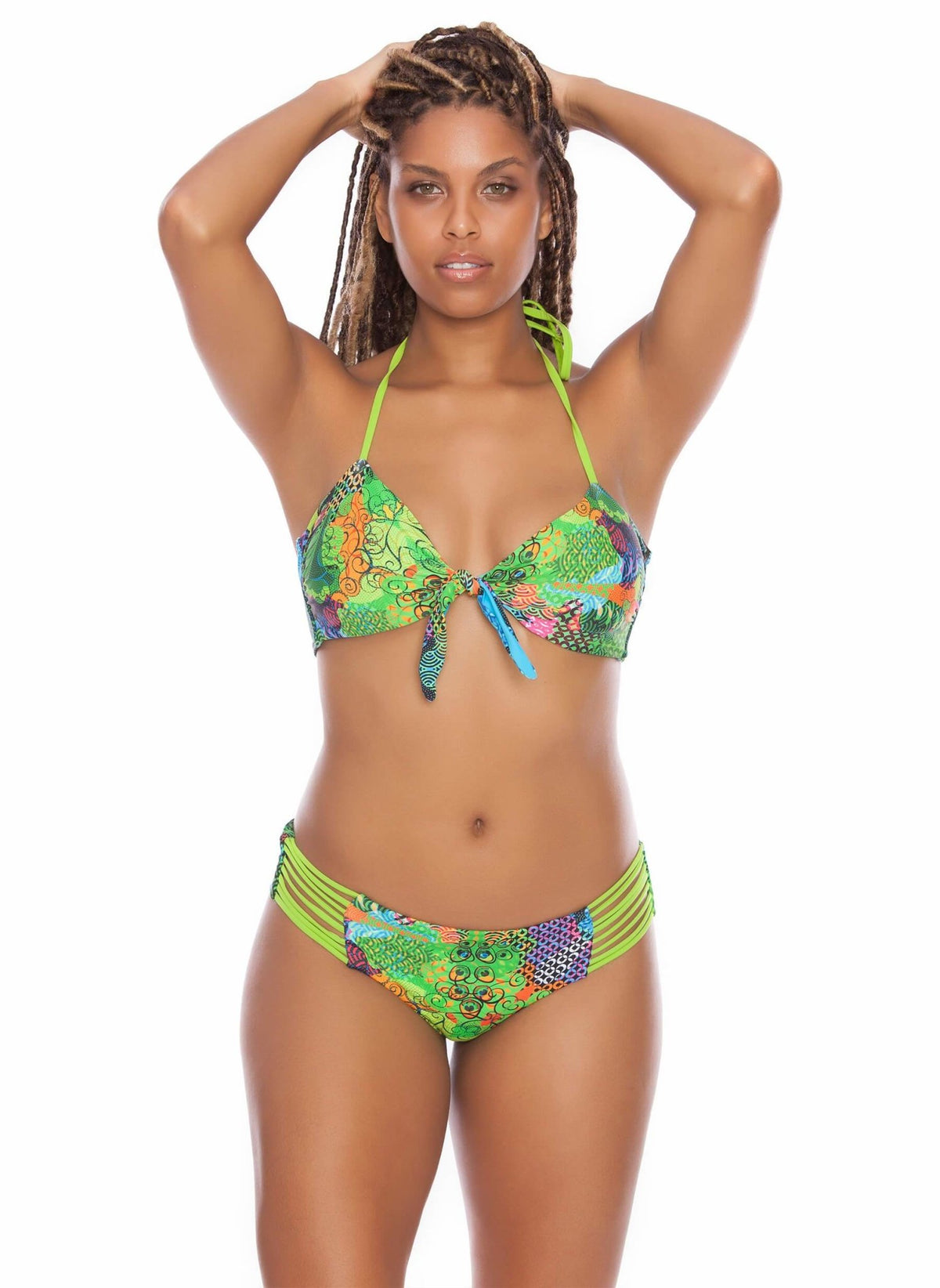 Iguazu Oasis Front Knot Bikini Top - Green Iguana - Salty Mermaid Swim