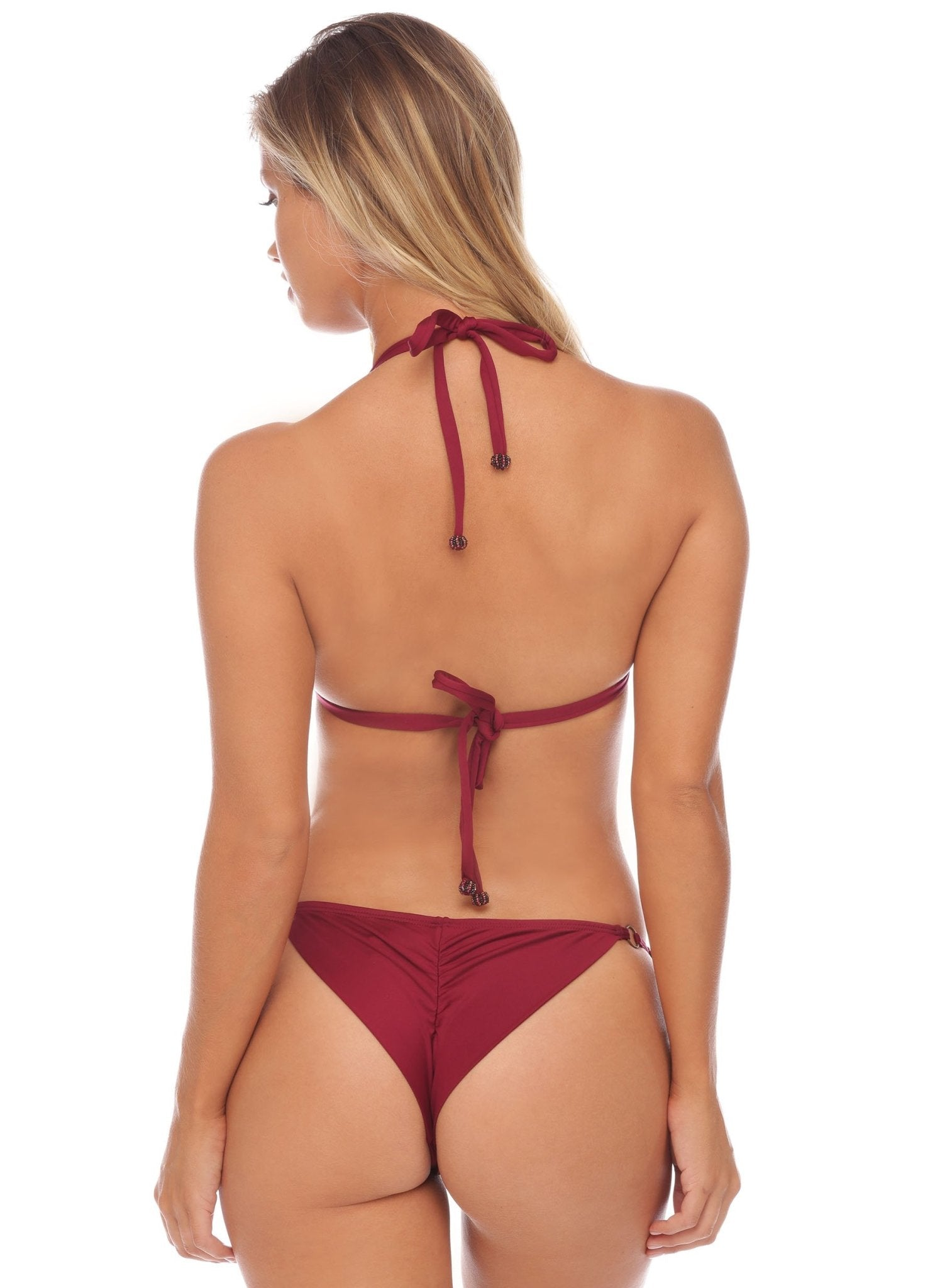 Jenna Lace Side Tie Bottom - Cheeky - Bordeaux - Salty Mermaid Swim