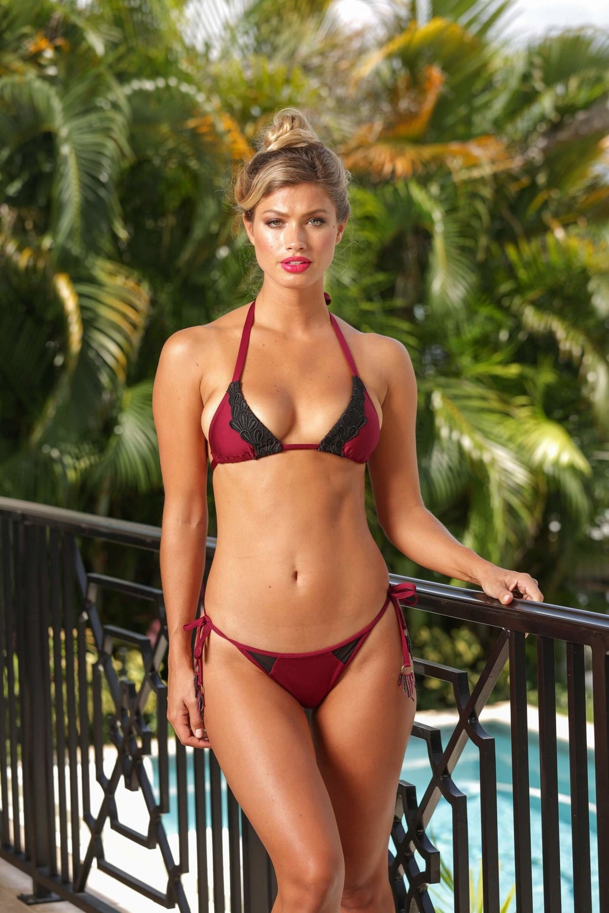 Jenna Lace Side Tie Bottom - Semi-Brazilian - Bordeaux - Salty Mermaid Swim