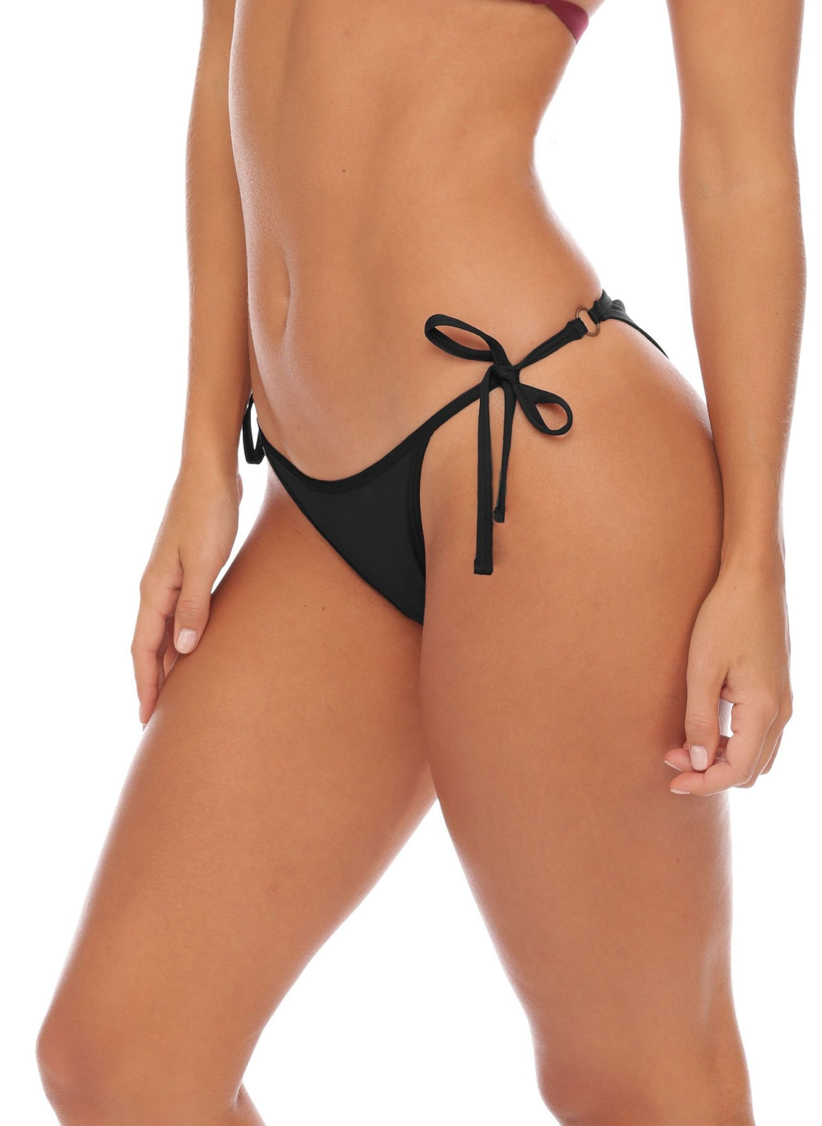 Jenna Side Tie Bottom - Semi-Cheeky - Black - Salty Mermaid Swim