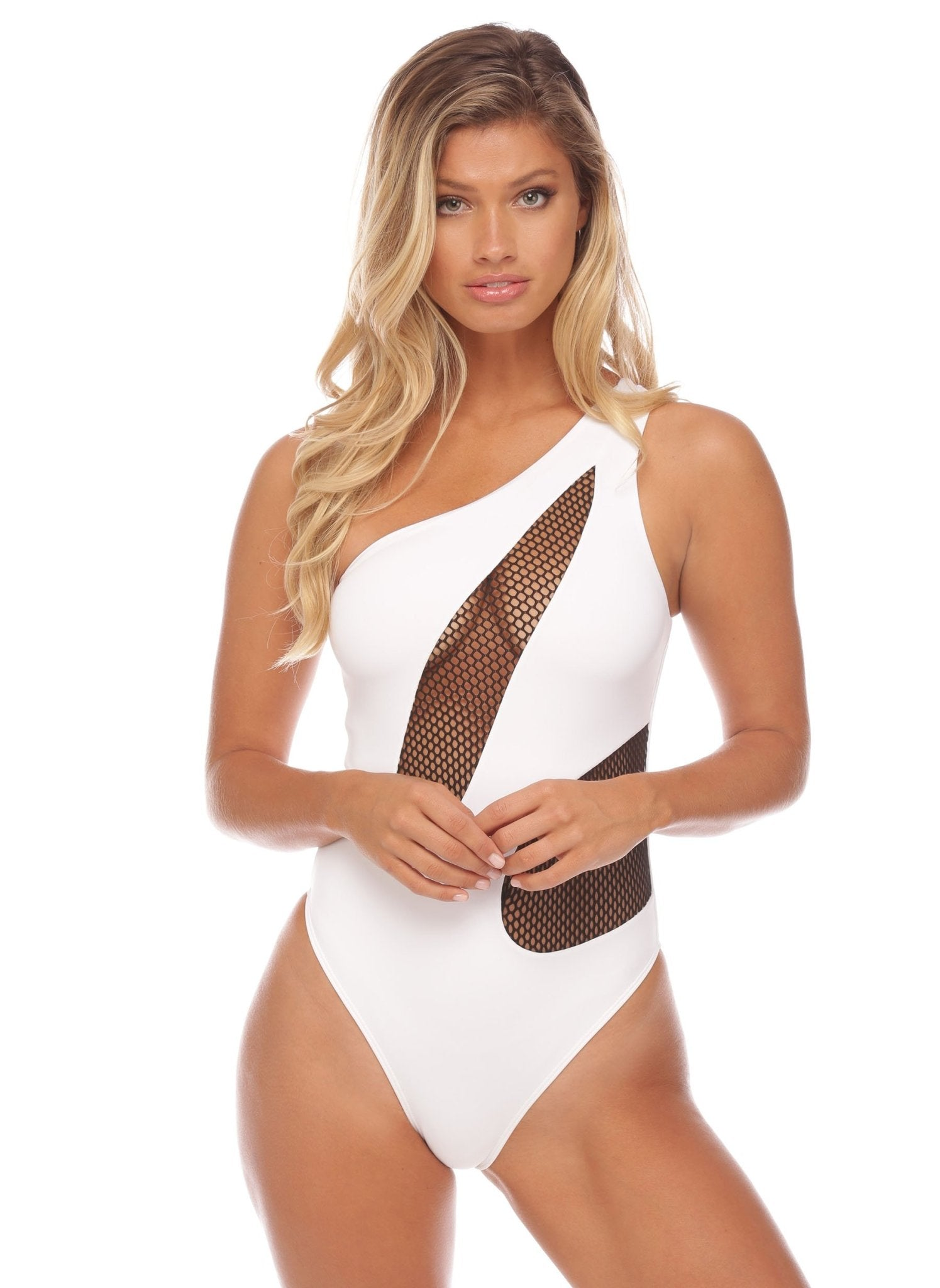 Kara Mesh Me One Piece - White - Salty Mermaid Swim
