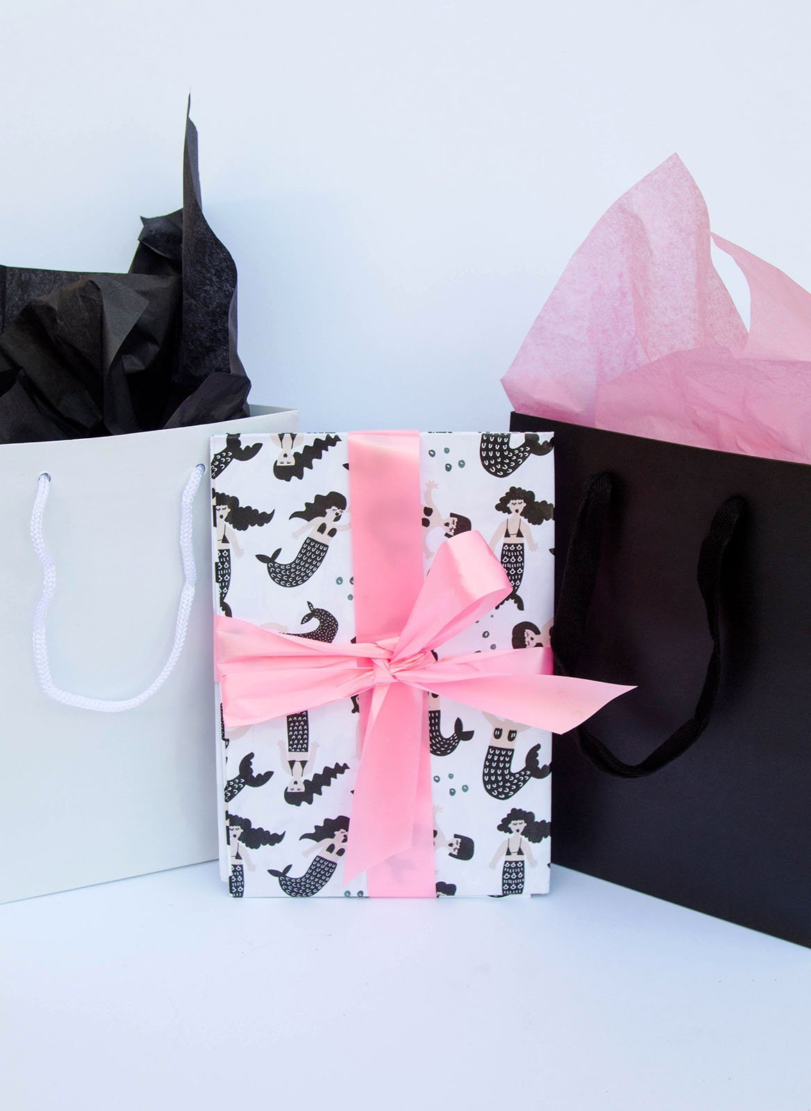 Monotone Mermaid Gift Wrapping - Salty Mermaid Swim
