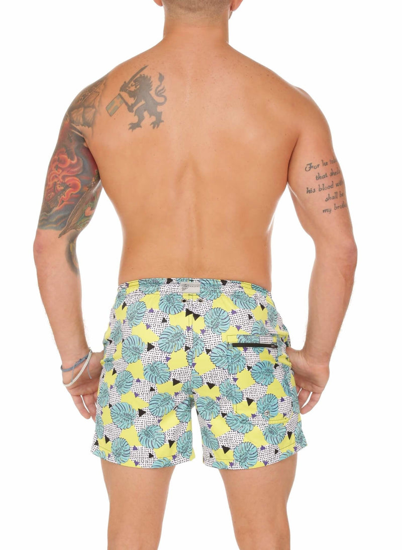 Neon Palm Print Mens Trunks