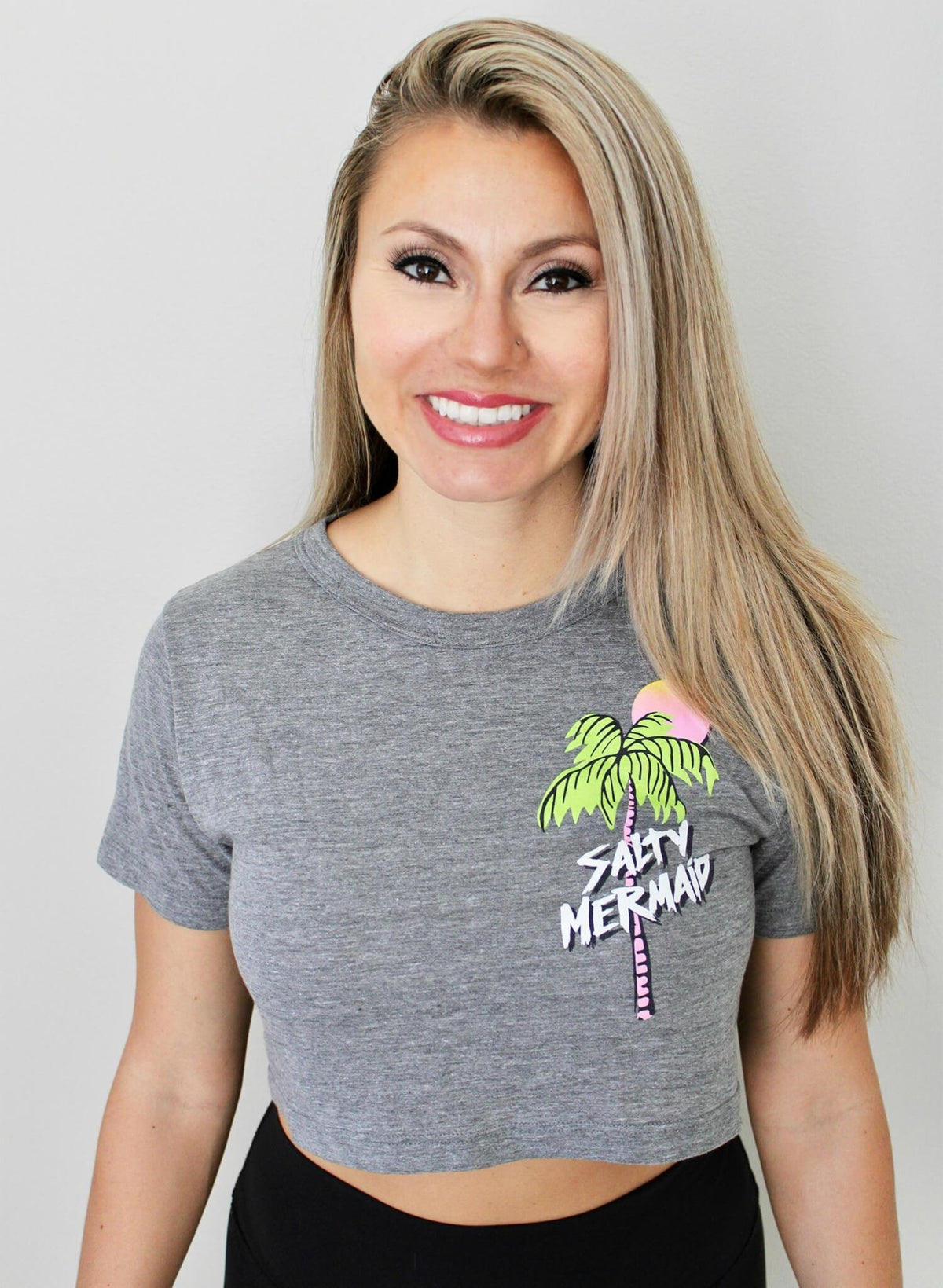 Palm Tree Cropped Triblend Tee