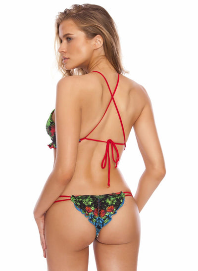 Rainforest Ruffles - Jungle Reversible Halter Bikini Top - Salty Mermaid Swim