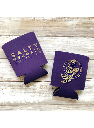 Salty Mermaid Logo Koozies - Purple