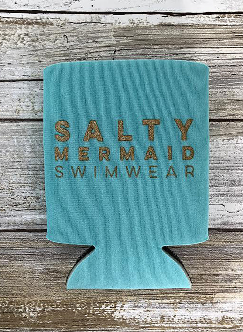 Salty Mermaid Logo Koozies - Teal