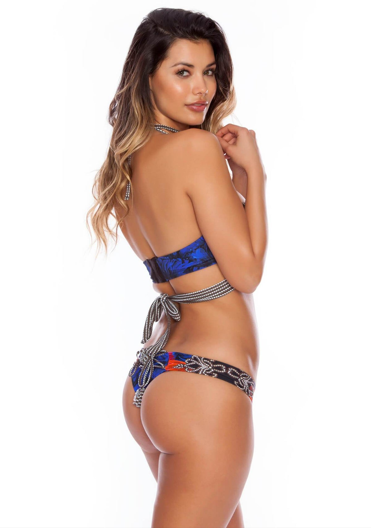 Strappy Starlet - Carnival Brazilian Corset Bikini Bottom - Salty Mermaid Swim