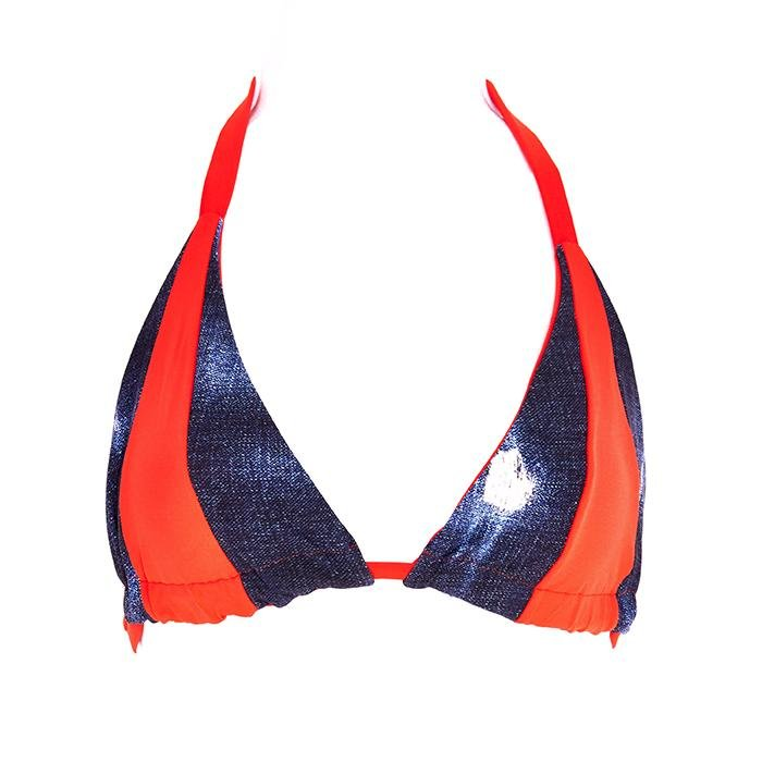 Trixy Triangle Top - Coral / Indigo