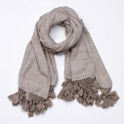 Tasseled Handspun in Grey or Beige